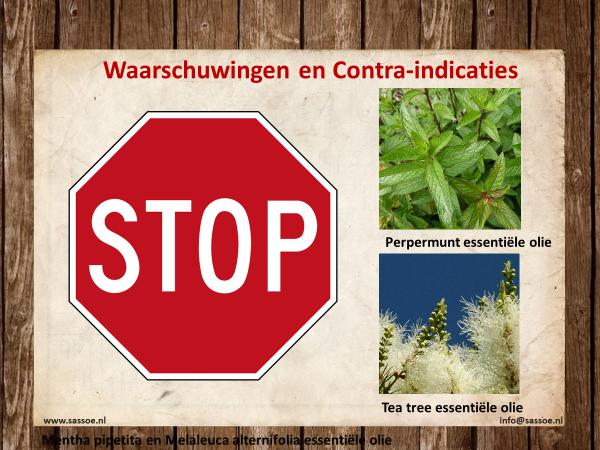 Waarschuwingen en contra indicaties Pepermunt en Melaleuca alternifolia